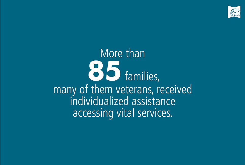 More than 85 families- many of them veterans, received individualized assistance accessing vital services