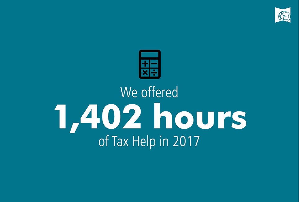 We offered 1,402 hours of Tax Help in 2017