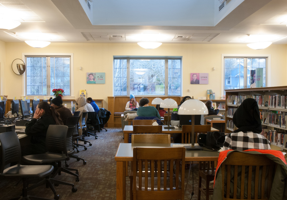 Library patrons in seating area at the Columbia Branch