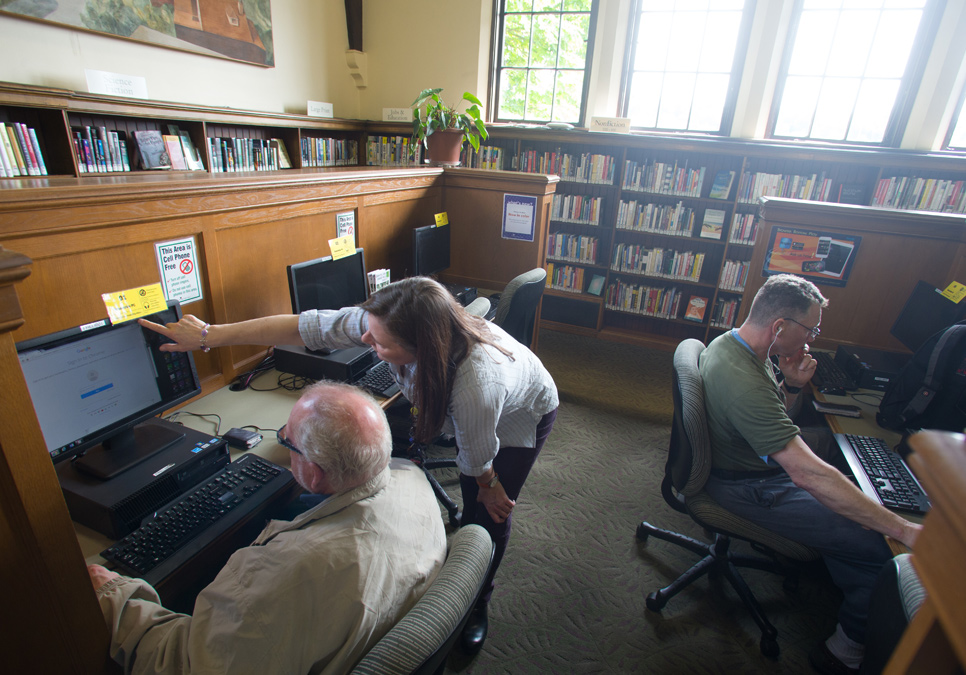 Library patrons using public computers at the Fremont Branch