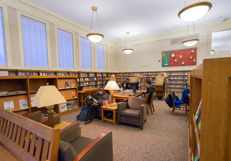Library patrons in seating area at the Green Lake Branch