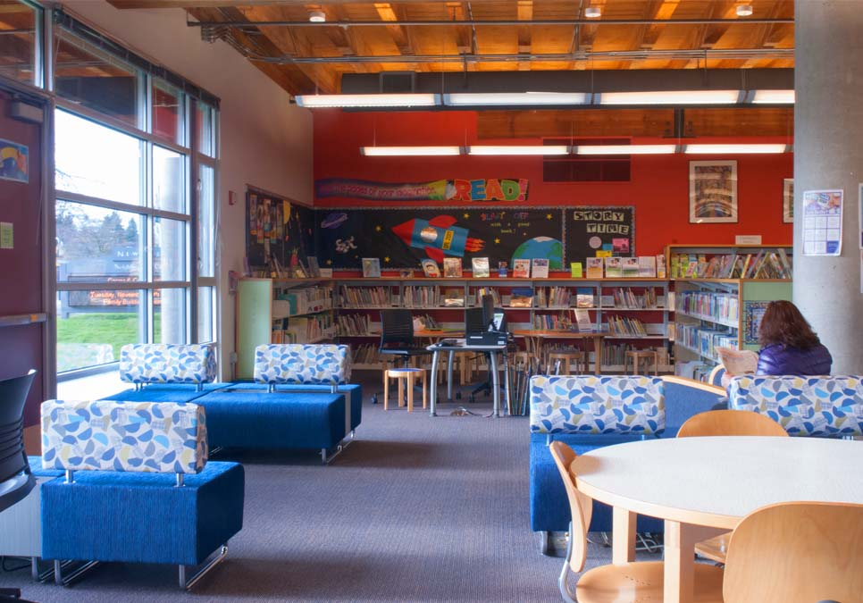 Library patron seating area at the NewHolly Branch