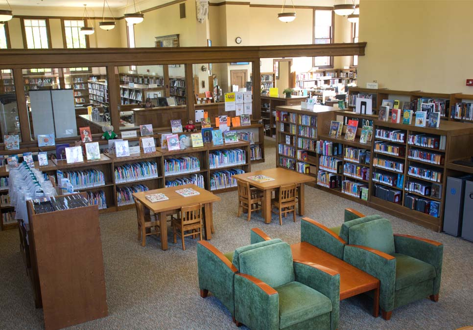 Seating in children's area at the West Seattle Branch