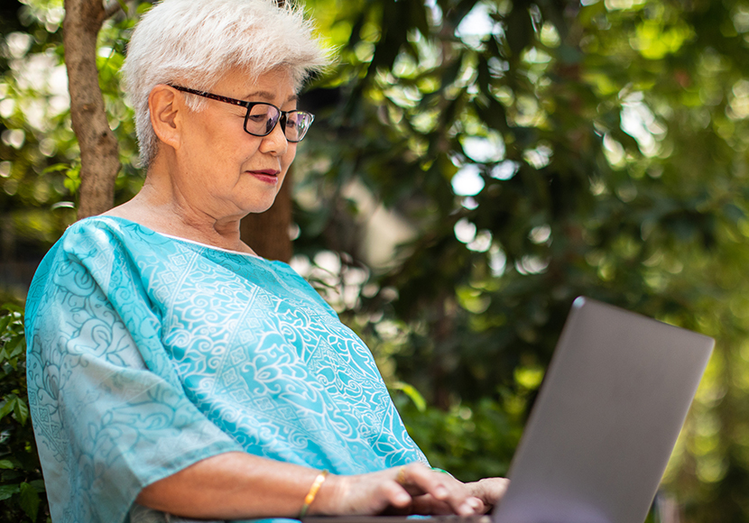 Older woman on laptop