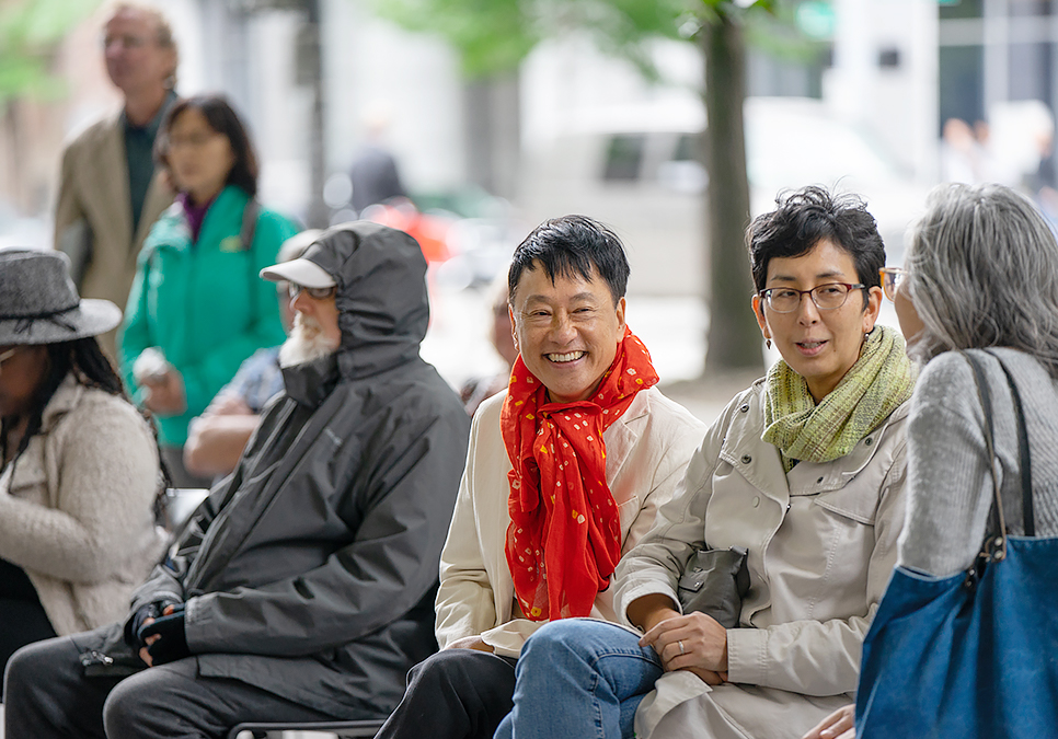 Patrons watching performances at Art on the Plaza event at the Central Library in 2019