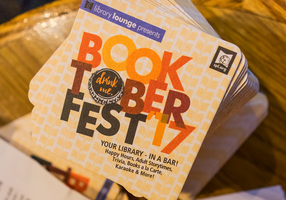 Coasters for Booktoberfest event at Naked City Brewery