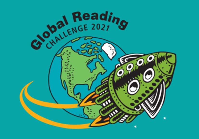Global Reading Challenge logo - Rocket flying around the earth