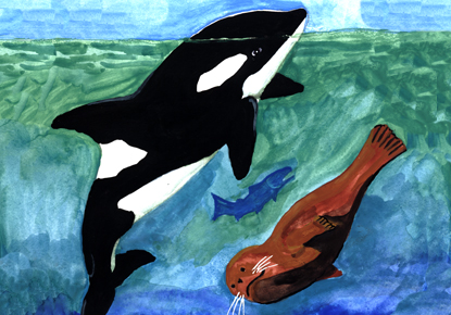 orca and sea otter artwork by Roger Fernandes