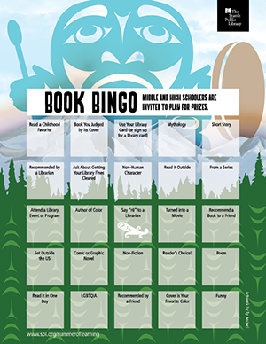 2018 teen book bingo card