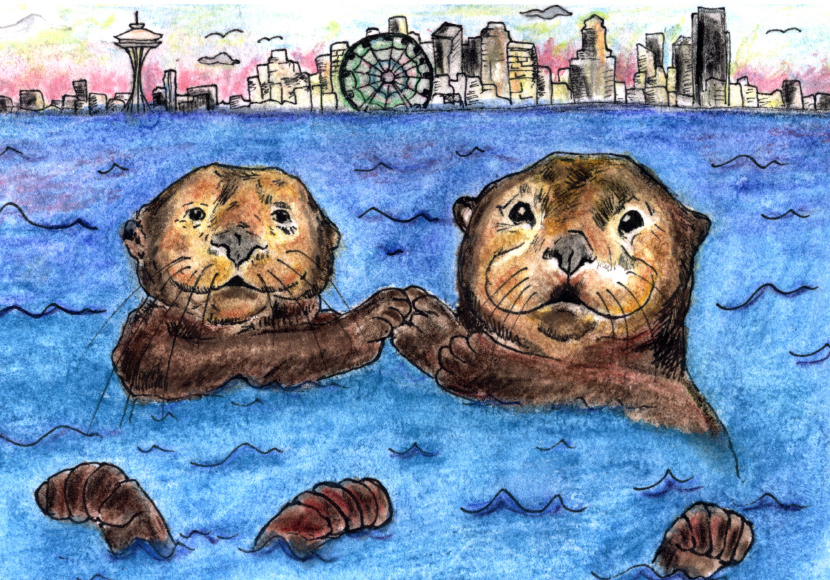 Painting of two beavers in the water