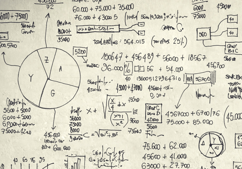 math scribbled on paper