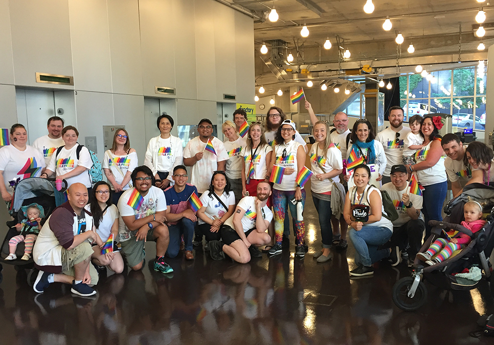 Library staff, friends and family at the Central Library before the Seattle Pride Parade