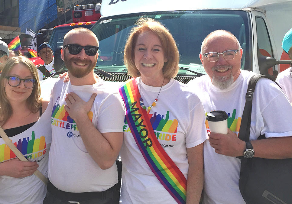 Mayor Jenny Durkan with Library staff at the Seattle Pride Parade