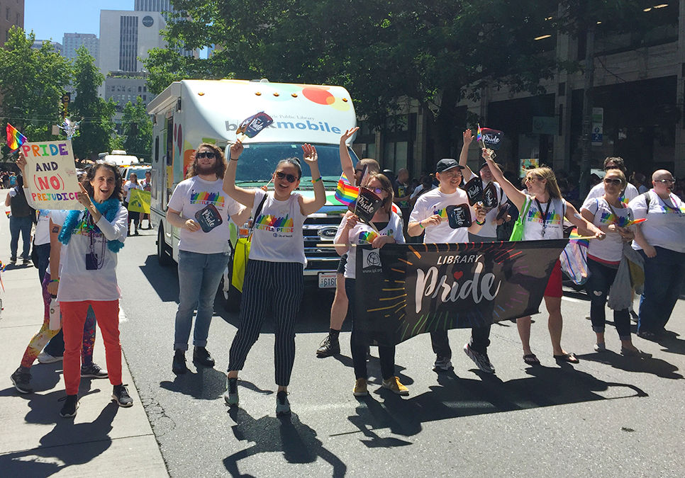 Library staff, friends and family marching at the Seattle Pride Parade