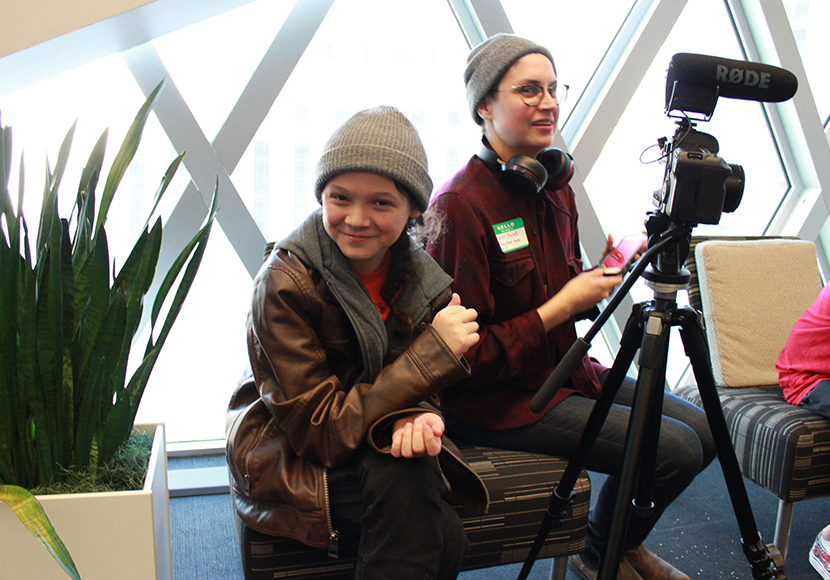 Clear Sky member Cante said that the Licton Springs project with The Seattle Public Library helped him learn how to work with cameras, interview elders and learn about Licton Springs. Pictured with Indigenous showcase mentor Shann.